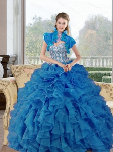 Puffy  Beading and Ruffles Sweetheart Quinceanera Gown for 2015