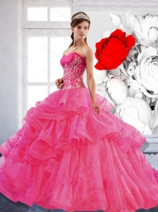 Puffy Sweetheart Ball Gown 2015 Quinceanera Dress with Appliques