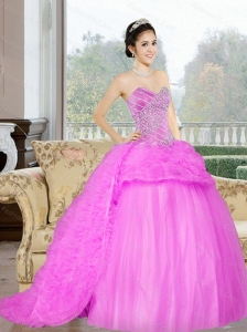 2015 Perfect Court Train Sweet 16 Dress with Beading and Ruffles