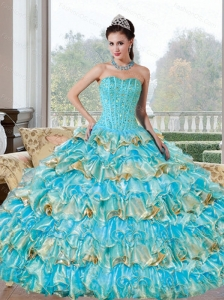 Perfect Beading and Ruffled Layers Sweetheart Quinceanera Dresses for 2015