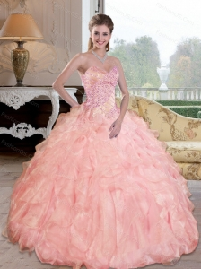Perfect  Beading and Ruffles Sweetheart Quinceanera Dresses for 2015