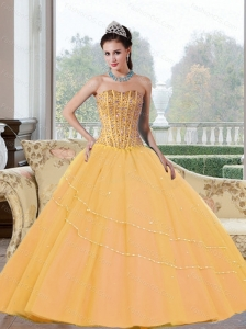 Perfect Beading Strapless 2015 Quinceanera Dresses in Gold