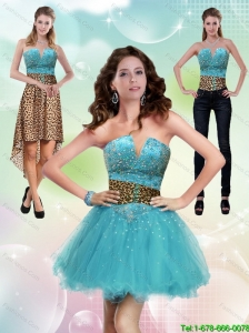 New Style and Detachable Aqua Blue Leopard Printed 2015 Prom Dress with Beading