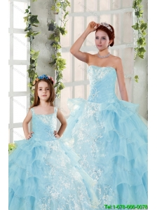 2015 Elegant Appliques and Ruffles Princesita Dress in Baby Blue