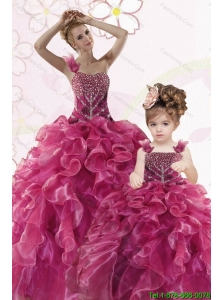 Modest Beading and Ruffles Fuchsia Princesita Dress for 20