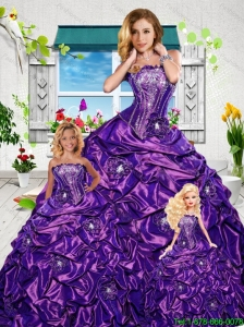 2015 Gorgeous Ball Gown Purple Princesita Dresses with Appliques and Pick-ups