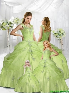 Beautiful Yellow Green Straps Appliques and Pick-ups Princesita Dress