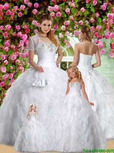 Inexpensive White Sweetheart Princesita Dress with Appliques and Rolling Flowers