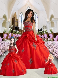 Unique Red Princesita Dress with Appliques and Pick-ups