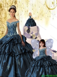 Exquisite Navy Blue Off The Shoulder Princesita Dress with Appliques and Pick-ups