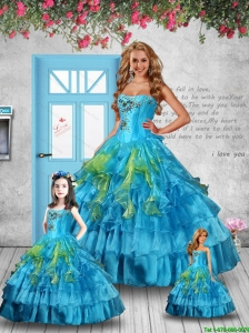 Luxurious Appliques and Ruffles Baby Blue Princesita Dress