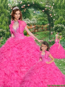 Popular Beading and Ruffles Sweetheart Hot Pink Princesita Dress