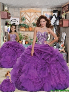2015 Luxirious Sweetheart Appliques and Ruffles Purple Princesita Dress