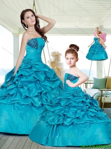 2015 Gorgeous Ball Gown Blue Princesita Dresses with Beading and Pick-ups
