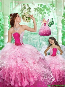 2015 Inexpensive Sweetheart Beading and Ruffles Princesita Dress in Pink