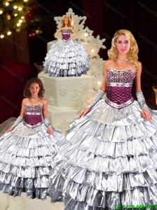 2015 Unique Strapless Silver Princesita Dress with Ruffled Layers