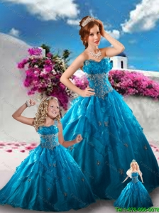 Affordable Teal Blue Princesita Dress with Appliques and Ruffles