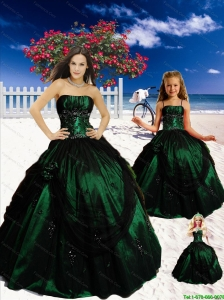 Popular Strapless Dark Green Princesita Dresses with Appliques
