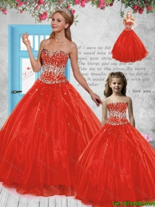 Pretty Puffy Red Princesita Dress with Beading