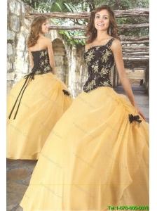 Unique Strapless Yellow Appliques 2015 Princesita Dresses