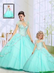 2015 Fashionable Beading Sweep Train Princesita Dress in Aqua Blue