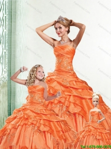 Beautiful Strapless Orange Quinceanera Dresses with Appliques and Ruffles