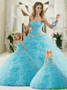 Brand New Sweetheart Blue Princesita Dresses with Appliques and Ruffles