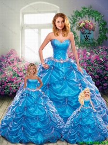 Brand New Sweetheart Blue Princesita Dresses with Beading and Pick-ups