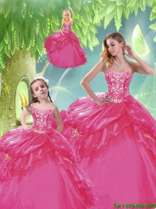 Cheap Sweetheart Beading 2014 Princesita Dresses in Hot Pink