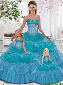 Custom Made Sweetheart Blue Beading Princesita Dresses