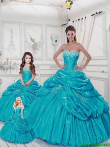 Popular Sweetheart Appliques Aqua Blue Dresses for Princesita