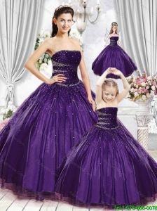 Gorgeous Purple Quinceanera Princesita Dress with Beading