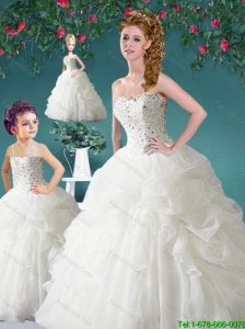 Inexpensive Sweetheart Beading and Pick-ups Princesita Dresses in White