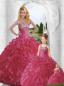 Inexpensive Sweetheart Red Beading and Ruffles Princesita Dresses