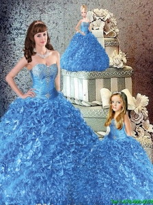 Luxurious Sweetheart Blue Beading and Ruffles Princesita Dresses