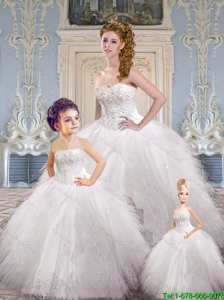 Modest Sweetheart White Princesita Dresses with Appliques and Ruffles
