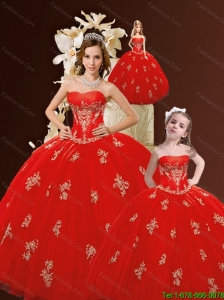 Newest Sweetheart Appliques Red Dresses for Princesita