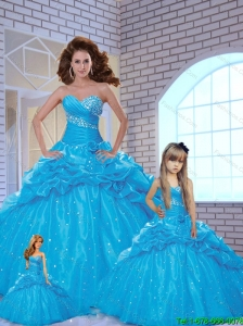 Popular Sweetheart Beading and Pick-ups Blue Dresses for Princesita