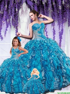 Pretty Puffy Sweetheart Blue Princesita Dress with Beading and Ruffles