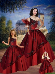 Puffy One Shoulder Wine Red 2015 Princesita Dresses with Appliques