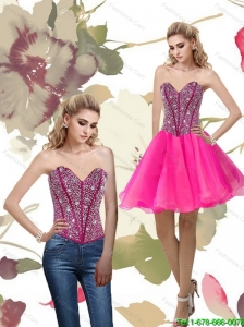 2015 Popular A Line Hot Pink Prom Dress with Beading