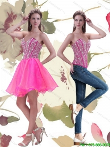 Popular 2015 A Line Mini Length Hot Pink Prom Dress with Beading