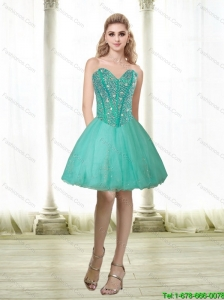 Popular 2015 Beading and Appliques Sweetheart Prom Dress in Turquoise
