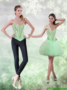 Popular Beading and Ruffles Apple Green Prom Dress for 2015
