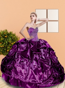 2015 Classical Beading and Pick Ups Sweetheart Quinceanera Dresses in Purple