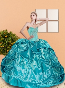 2015 Classical Sweetheart Teal Quinceanera Dresses with Beading and Pick Ups