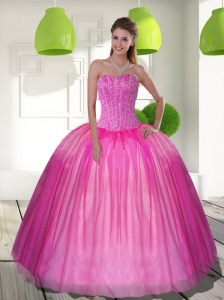 2015 Elegant Beading Sweetheart Ball Gown Quinceanera Dresses