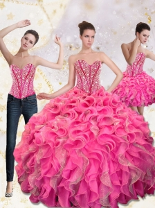 2015 Exquisite Sweetheart Quinceanera Gown with Beading and Ruffles