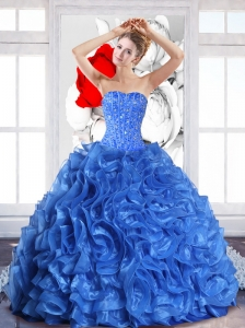2015 Modest Ball Gown Quinceanera Dresses with Beading and Ruffles
