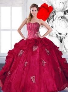 2015 Modest Sweetheart Beading and Ruffles Quinceanera Gown with Appliques